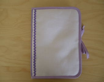 Health book has cross-stitch, purple 100% cotton fabric, choose outline
