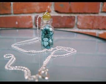 mini bottled up turquoise gem necklace