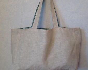 Linen tote bag reversible natural double cotton Plaid