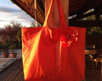 Tote bag or beach coated canvas and beautiful flower