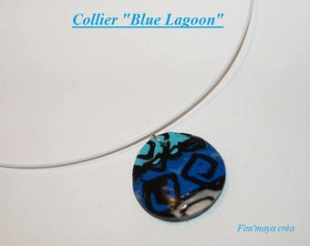 "Necklace white cable with ethnic pendant turquoise blue, Royal and white ""Blue Lagoon"""