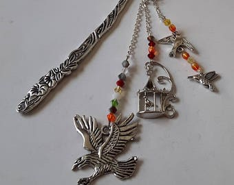 Eagle and multicolor Crystal bird bookmark