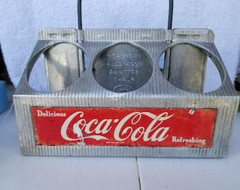 Antique Tin Coca Cola Caddy