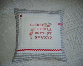 Gray and white gingham pillow cover
