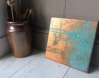 Abstract copper patina painting