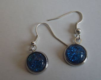 Silver and blue glass cabochon earrings