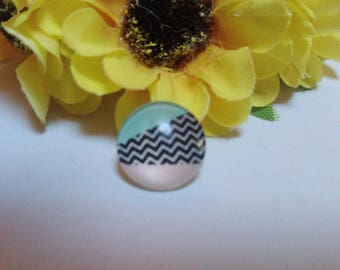 Set of 2 striped 12mm Cabochons
