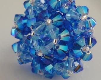 Ocean Blue Swarovski Crystal beads ring