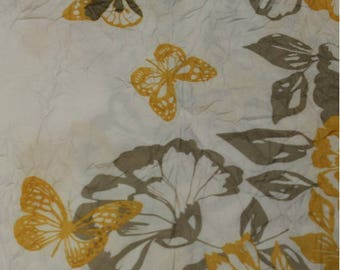 Coupon of 3 meters printed polyester yellow and gray flower