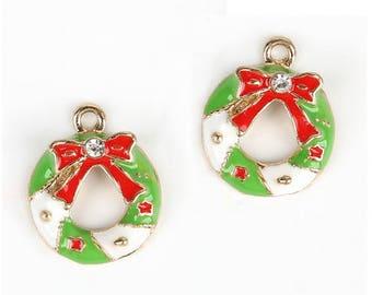 Set of 5 charms Christmas wreath