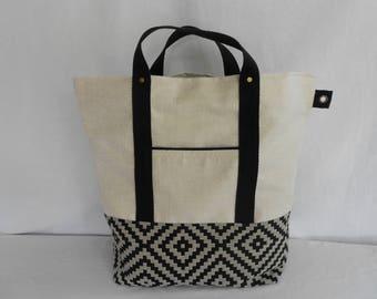 Cream bag and jacquard fabric