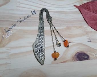 Large bronze bookmark, jade, orange