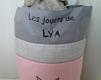 Pink and grey toys with handles bag with applique pattern