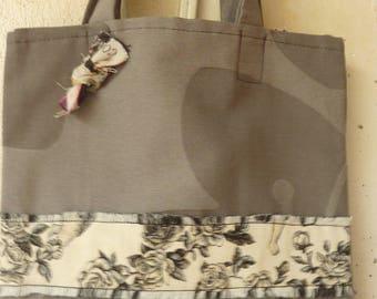 Silver small grey tote bag in cotton