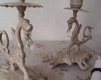 Pair of candlesticks 'horse' & pendants