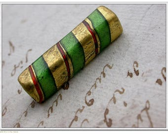 set of 2 beads old real murano gold foil