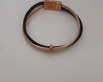 Bracelet pink gold and khaki