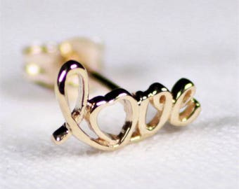 9ct Gold Love Studs