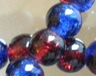 20 glass beads Crackle strands, round, dyed, deepskyblue / red, 8 mm in diameter, hole: 1 mm.