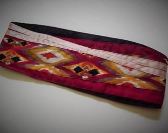 Headband Fuchsia and ethnic fabric