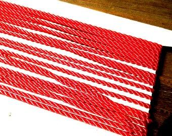 1 m bright red cotton 2 mm satin cord