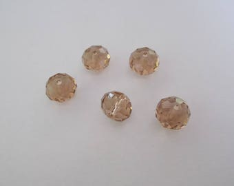 1 set of 5 12 x 8 mm faceted Crystal beads