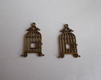 1 set of 2 color bird cage charms bronze