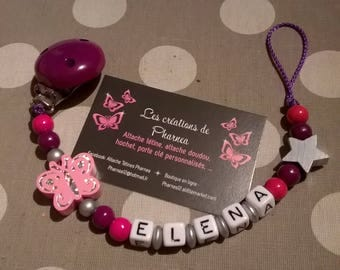 Personalized with name pink star Butterfly pacifier pacifier silver fuchsia purple