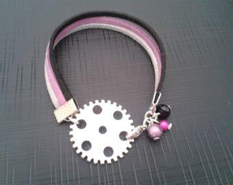 Bracelet cog, suede, silver, purple, black