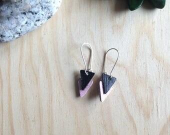 Earrings leather - leather minimalist triangle earrings