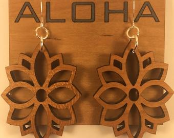 Aloha Floral Lotus Custom Wood Earrings
