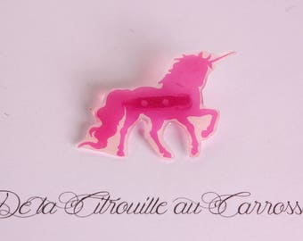 Pearly pink and white Unicorn brooch