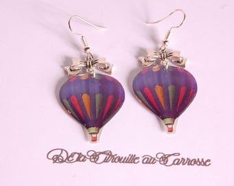 Hot air balloon, blue, Silver Bow earrings