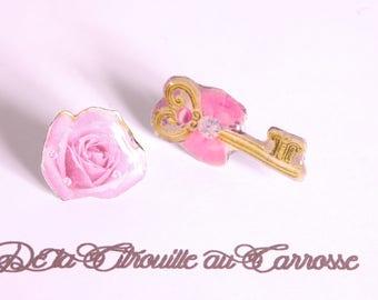Golden key and rose flower ear studs
