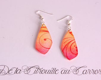 Earrings Arabesques, orange and fuchsia