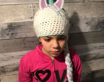 Unicorn girls hat, winter hat