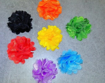 6 different colors of organza and tulle fabric flowers