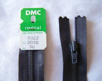 Zipper closure, metal, dark grey, 50 cm (2038)