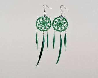 Creole earrings green lace with feathers