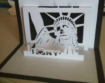 "handmade ""new york"" Kirigami theme card"