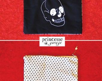 skull clutch / pea handsewn
