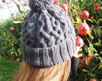 "Knit hat Merino - charcoal grey - handmade knit ""Abigaël"""