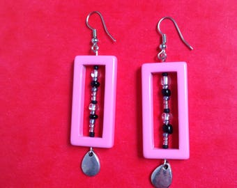 seed beads and pink rectangle earrings