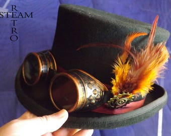 steampunk - new VINTAGE wool hat feather Top Hat with goggles - steampunk top hat - Hat