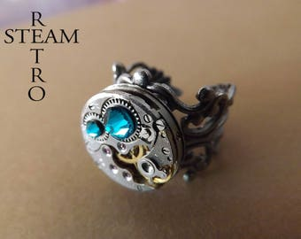Steampunk ring filigree blue