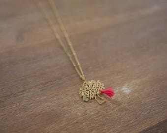 Gold plated end - Golden tree necklace