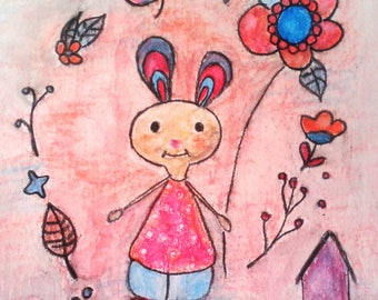 """Small illustration """"Lilirose Bunny and the little bird cage"""""""