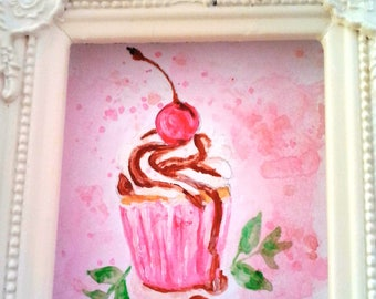 Watercolor cherry gourmet chocolate cupcake