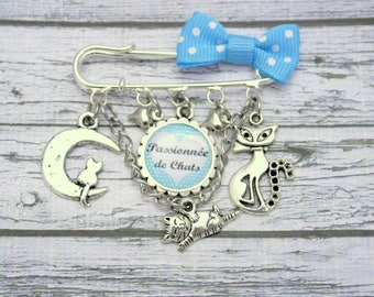 Cats kitten cat personalized cabochon pin brooch