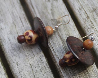 Earrings made from different wood beads